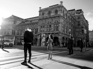 Evening sun and the Vienna opera house. Wiener Staatsoper
