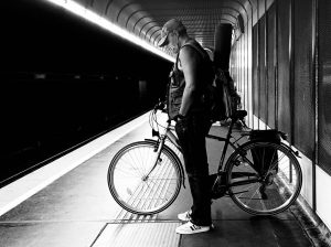 #Mask & bicycle U1 #Vienna #Wien #bw Donauinsel