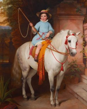 This monumental portrait of the later Prince Johann II of Liechtenstein at the age of six is an...