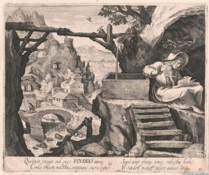 . Saint of the Day September 13th Hagiograph: @twigsaints St Venerius the Hermit c1600 Engraving by Sadeler...