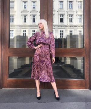 """#happymonday 🦓 Ingrid #wearing our #newin #animalprint #combination from #meyitalia : #blouse €69,- and """"skirt €69,- at..."""