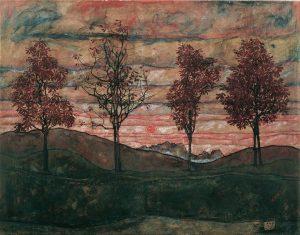 Happy Autumn Equinox 🍂🍁 🖼 Four Trees by Egon Schiele, 1917, Belvedere Vienna Belvedere Museum