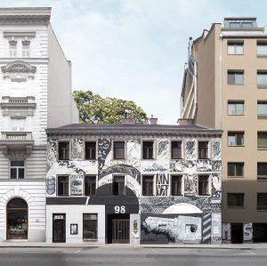 Utopia or reality? photo by @micki_burg #vienna #graffiti #art #streetart #mural #muralart #paintedhouse #irgairga #freshmax #knarf #mafiatabak...