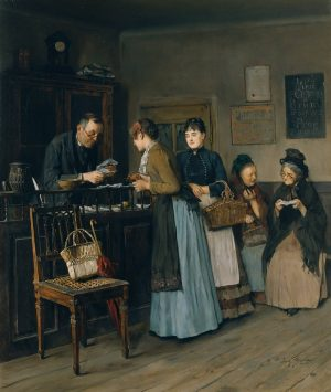 Lottery Sisters 1888 by Josef Gisela (1851–1899) - Oil on canvas 61x 47.5 ...