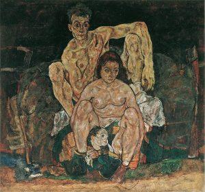 """""""Rodzina"""" Egon Schiele 1918 Belweder w Wiedniu """"Wszytko jest żyjącą śmiercią"""". Na obrazie ..."""