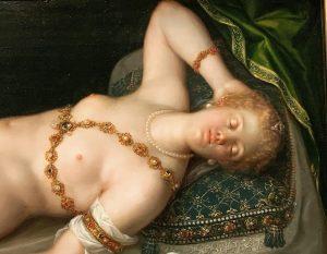 『Resting Venus』🖼 美術史美術館から好きな1枚を…😊 Dirk de Quade van Ravesteynという方の1608年頃の作品です。 この肌の質感が清らかに美しくて、よく立ち止まって見てしまう作品です🥰 頬や指先、唇などの穏やかな桜色の肌も柔らかそうな雰囲気をたたえていますし、瞼の光の具合は、殊に艶っぽく感じます✨ この色合いを再現できるアイシャドウがあれば欲しいと思うくらい(笑) 身に纏っている装身具も綺麗ですよね👀✨ クッションやらレースやら…どれも美しく描かれています。 この美術館の目玉!という作品ではありませんけれど、もしもお時間が許しましたら、見てみて下さい💕 ========== #ウィーン #ウィーン旅行...