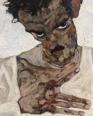 'Self Portrait with Lowered Head', Egon Schiele, 1912. Leopold Museum, February '20 Leopold ...