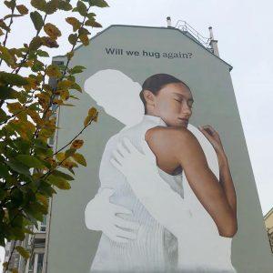 Will we hug again? #viennamurals #wienstreetart #muralart #viennastreetart #wallsofvienna #publicart #coronaart #corona #covid_19 ...
