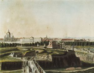 Blick gegen die Wieden von der Kärntnertor-Bastei. Im Hintergrund die Karlskirche und das noch nicht eröffnete k.k....