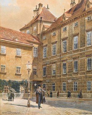 Eingang zur Schauflergasse Richard Moser, Aquarell auf Papier 1900