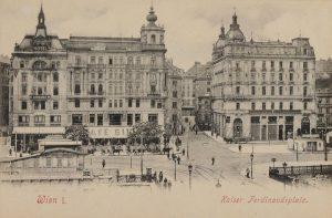 Kaiser Ferdinandsplatz. Schwedenplatz (vormals Kaiser-Ferdinands-Platz) - Blick vom Donaukanal Richtung Postgasse Ansichtskarte vor ...