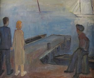 'At the Pier'. ⛵️ Oil sketch by the Finnish artist Immanuel Saukkonen (1909-1970). Online auction Paintings, 12...