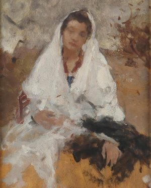 'Girl with a white Scarf', Hans Tichy. Paintings, online auction on 26 January. #HansTichy (1861 - 1925)...
