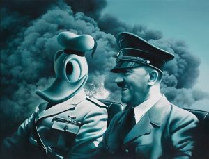 untitled, 2020-2021 Oil & acrylic on canvas, 116x151cm #gottfriedhelnwein #painting #monochrome #nazi #hitler #donaldduck