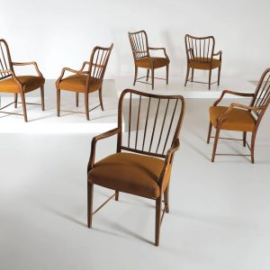 Now and back then. Set of six armchairs, Oswald Haerdtl. Online auction Furniture ...