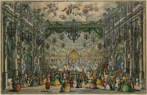 💃 #Ballvergnügen vergangener Zeiten: Ball im Opernhaus von Neapel, kolorierte Radierung 1749, überliefert ...