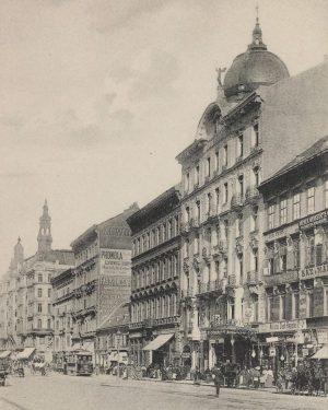 Mariahilferstrasse mit Hôtel Palace Ansichtskarte 1905–1909. Karl Ledermann. Wien Museum.