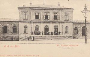 Meidlinger Bahnhof Eichenstraße 25 Sperlings Postkartenverlag, Ansichtskarte 1900–1905. Wien Museum.