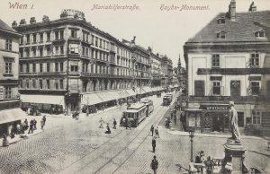 Mariahilferstraße. Haydn-Monument. Ansichtskarte 1913. Paul Ledermann. Wien Museum. Mariahilfer Straße