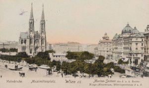 Votivkirche. Maximilianplatz. Rechts: Marine-Section des k. u. k. Reichs-Kriegsministerium, Währinger Straße 6 u. 8. Ansichtskarte 1906. Karl...