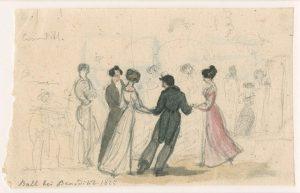 💃 #Ballvergnügen vergangener Zeiten: Hausball im biedermeierlichen Wien, teilweise kolorierte Bleistift-Skizze von Johann Vesque von Püttlingen, 1825...