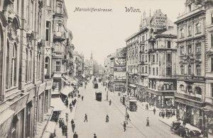 Mariahilferstrasse. Wien. Blick gegen Stiftkirche. Ansichtskarte 1906. Karl Ledermann. Wien Museum. Mariahilfer Straße