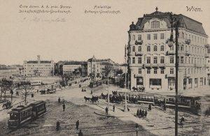 Wien. Erste österr. k. k. priv. Donau-Dampfschifffahrts-Gesellschaft. 1., Julius-Raab-Platz, vor dem Bau der Urania, Blick Richtung Radetzkystraße....