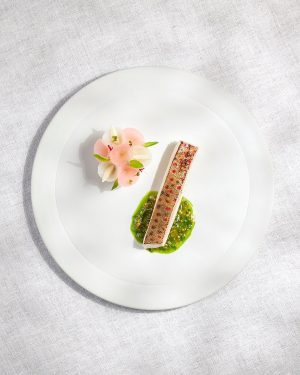 Mountain trout with kohlrabi, pineapple sage & mustard seed #beginningofanewchapter #inspired by nature #foodofaustria @theworlds50best #guidemichelin #heinzreitbauer...