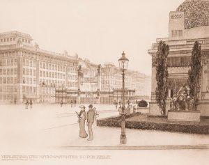 Skizzen, Projekte und ausgeführte Bauwerke, Bd. III, Blatt 49, Verlegung des Naschmarktes in die Zeile. Otto Wagner...