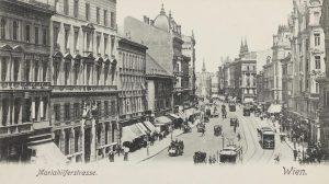 Mariahilfer Straße. Ansichtskarte vor 1905. Karl Ledermann. Wien Museum. Mariahilfer Straße