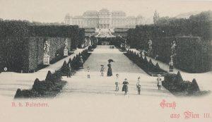 Oberes Belvedere mit Belvederegarten. Gruß aus Wien. Ansichtskarte um 1898. Karl Ledermann. Wien ...