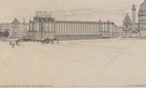 Studie für ein Hotel am Karlsplatz, Perspektive. Otto Wagner 1910–1911. Wien Museum.