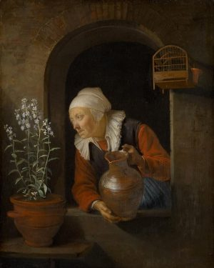 Gerard Dou Dutch, 1613 - 1675 Old woman at the window, watering flowers ...