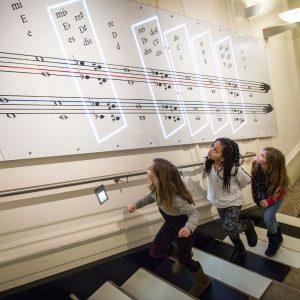 Stairplay - mit den Füßen Klavierspielen. Discover the Interactive Installations at Haus der Musik! © Rudi Froese...