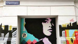 --- * artist: ? * spot: 6., Capistrangasse #noparking #noparkingonthedancefloor #colorful #strongwoman #strongvoice #garageart #mural #artsyvienna #wien...