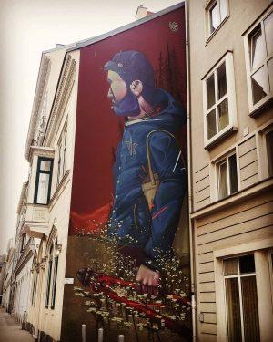 --- * artist: @misterwoodland * spot: 6., Sandwirtgasse #springtime #gardening #guy #mural #artsyvienna #wien #vienna #streetartvienna #streetart...