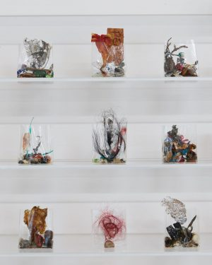 The objects are dated and presented on acrylic glass shelves that encapsulate a ...