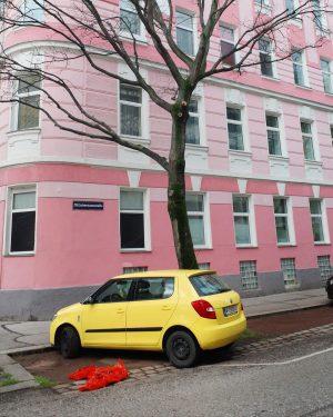 Corner colour palette #wienstagram #wien #vienna #pastel #safetyorange #butteryellow #pink #leafless #streetscene #corner ...