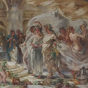 'Evoe Bacche' Exuberant scene in an ancient #temple of Bacchus, design for a ...