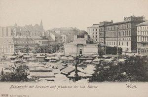 Naschmarkt mit Secession und Akademie der bildenden Künste. Ansichtskarte 1905–1909. Wien Museum.