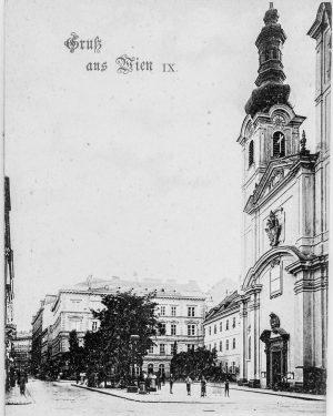 (um 1898/C. Ledermann jun. (Hersteller), Ansichtskarte, Wien Museum/Wiki) Servitengasse - mit Servitenkirche - ...