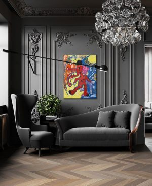 Bring a bit of a color into a beautiful monochrome interior with a poster of my art....