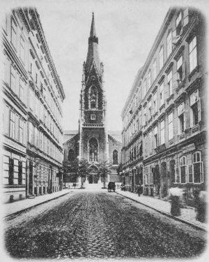 (um 1898/C. Ledermann jun. Wien Museum/Wikipedia) Argentinierstraße (vormals Alleegasse) - Blick von Höhe der Theresianumgasse gegen Elisabethkirche,...