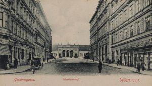 Wien XV. Gerstnergasse. Blick gegen Westbahnhof. Postkarte um 1898. Wien Museum.