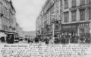 """(um 1903/Deutsch's Postkartenverlag, Wien Museum/Wien Geschichte Wiki) """"Wien, Wiedner Hauptstrasse"""