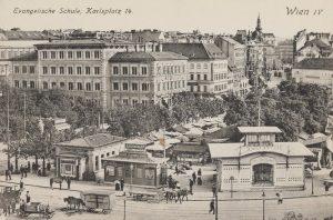 Wien IV. Wiedner Hauptstraße und Karlsplatz. Blick gegen Evangelische Schule und Paulanerkirche. Ansichtskarte ...
