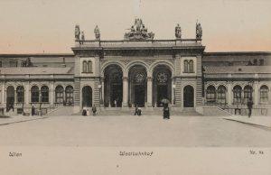 Wien XV. Westbahnhof. Europaplatz 1. Eingang Abfahrtsseite. Ansichtskarte 1900-1905. Wien Museum.