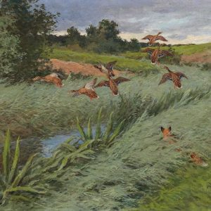 A fox hunting ducks, online auction Paintings, 3 August. The theme of #hunting ...