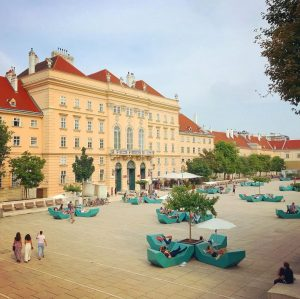 a great place to hang out with friends is the Museumsquartier in Vienna's ...