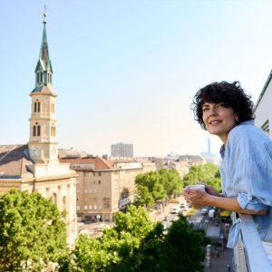 Der vielleicht schönste Blick über die grüne Praterstraße. So startet ihr eure Tage bei uns völlig entspannt....